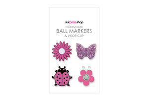 SurprizeShop Pink Country Garden Ball Mark Visor Clip Set