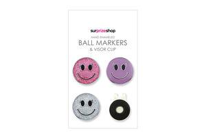 SurprizeShop Smiley Face Ball Mark Visor Clip Set