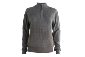 Palm Grove Cable Knit Lined 1/4 Zip Ladies Sweater