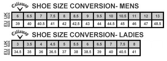 Callaway Shoe Size Guide