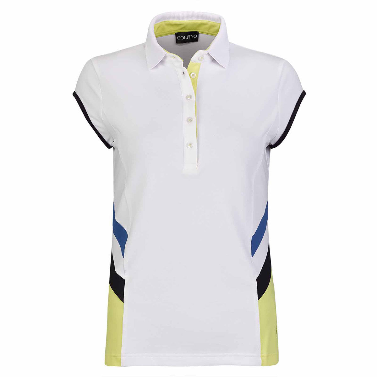 GOLFINO Cap Sleeve Racing Womens Golf Polo Shirt, Female, 10, Optic white | American Golf