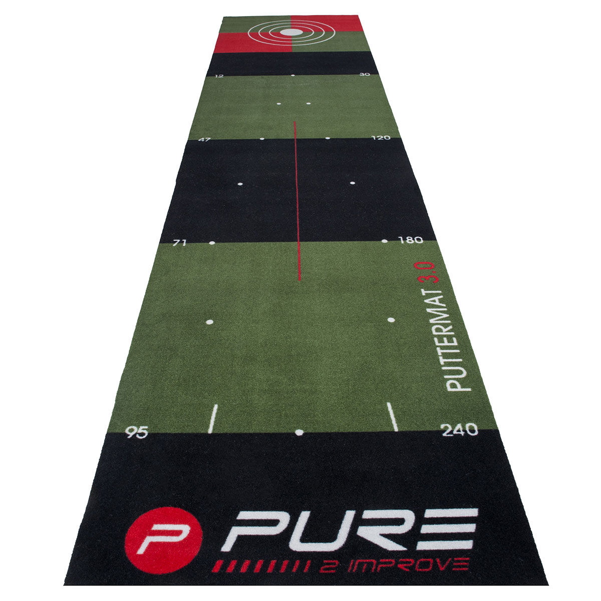 Pure 2 Improve Black and Green Long Lasting 3.0 Putting Golf Mat, Size: 3   American Golf