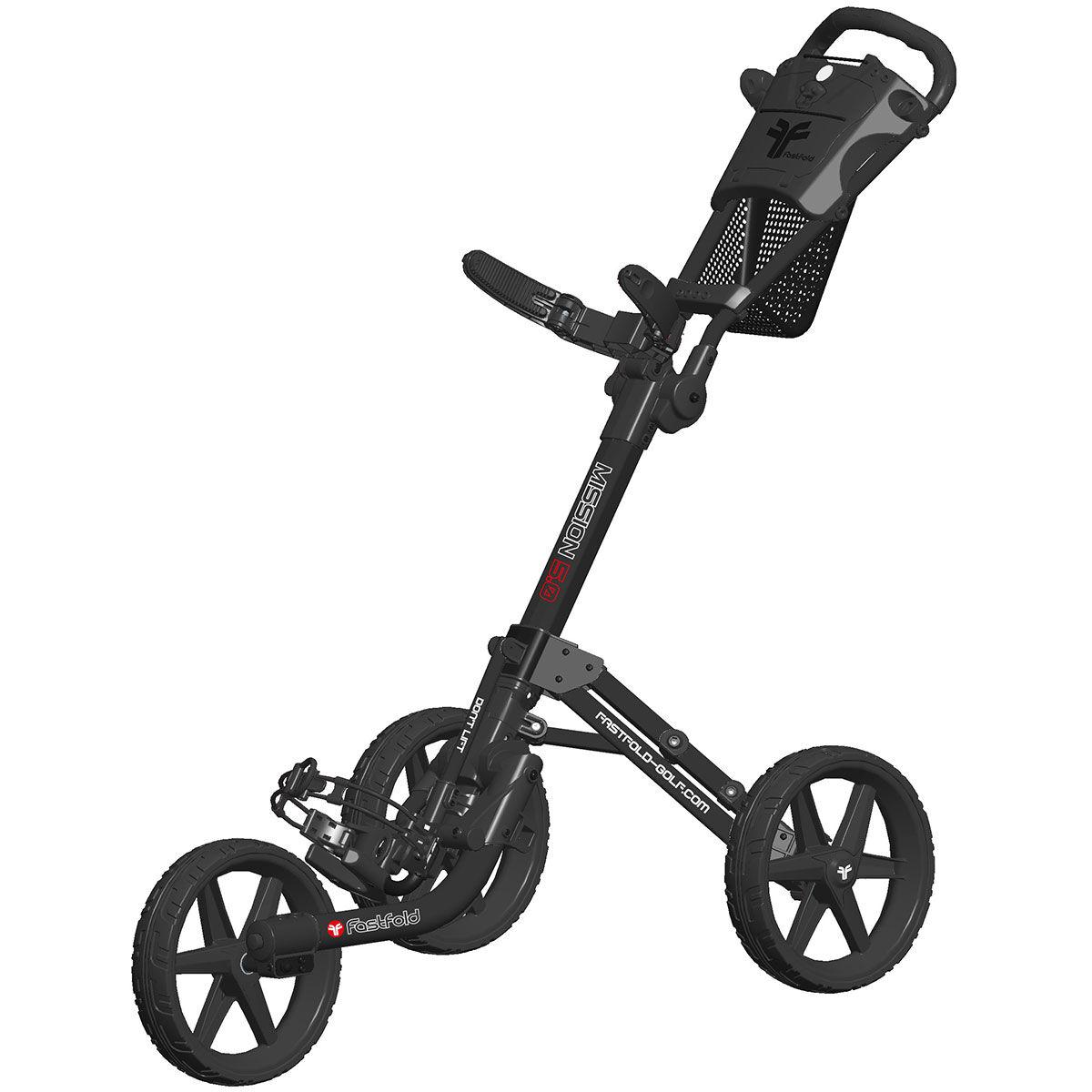 Fast Fold Fastfold Mission 5.0 3 Wheel Push Golf Trolley, Charcoal/black, One Size | American Golf