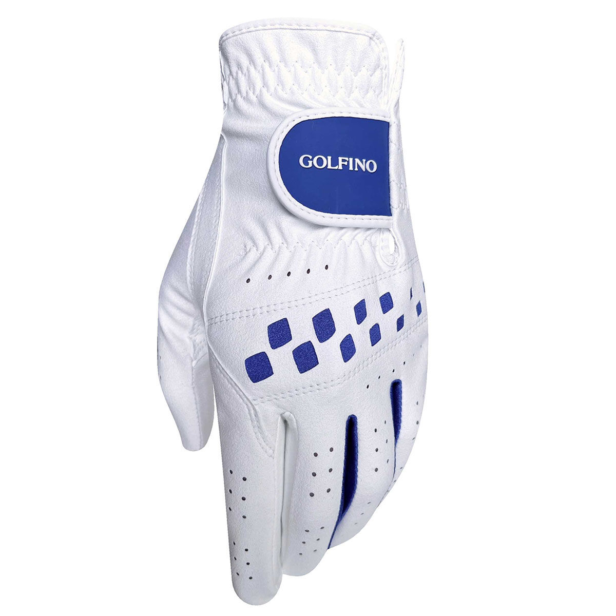 GOLFINO All Weather Hybrid Womens Golf Glove, Female, Left hand, Large, White/navy | American Golf