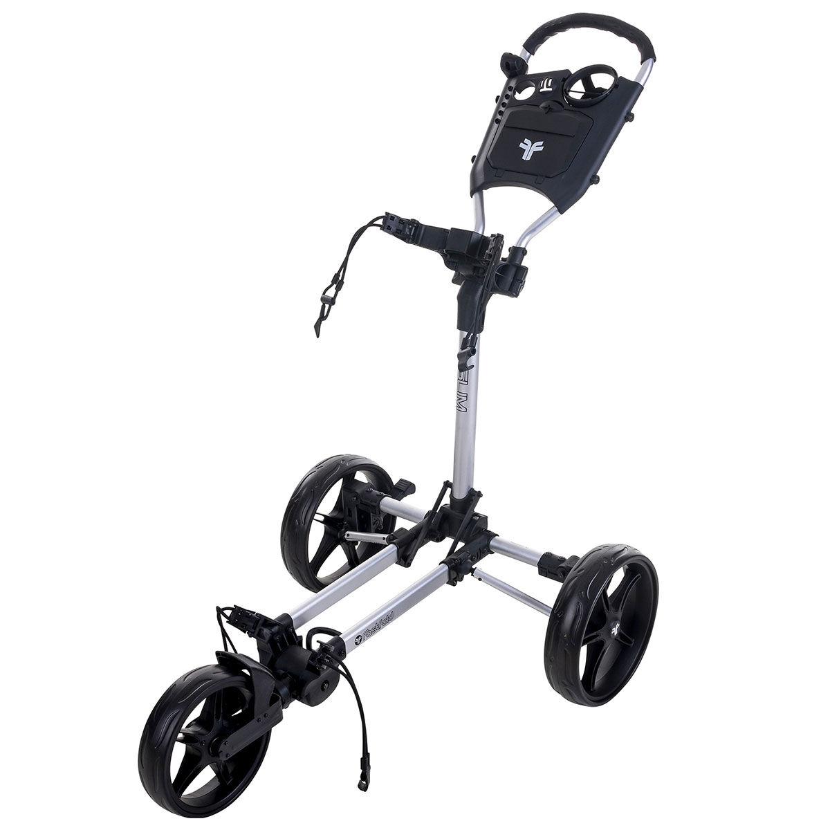 Fast Fold Slim 3-Wheel Push Golf Trolley, Silver/black | American Golf