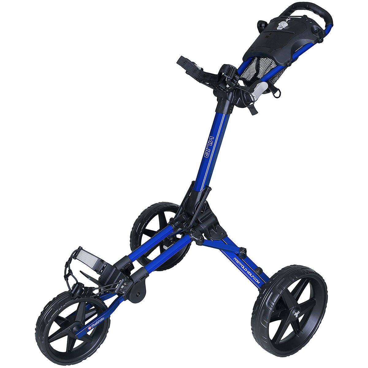 Fast Fold Blue and Black Lightweight Kliq 3 Wheel Push Golf Trolley, Size: One Size | American Golf | American Golf