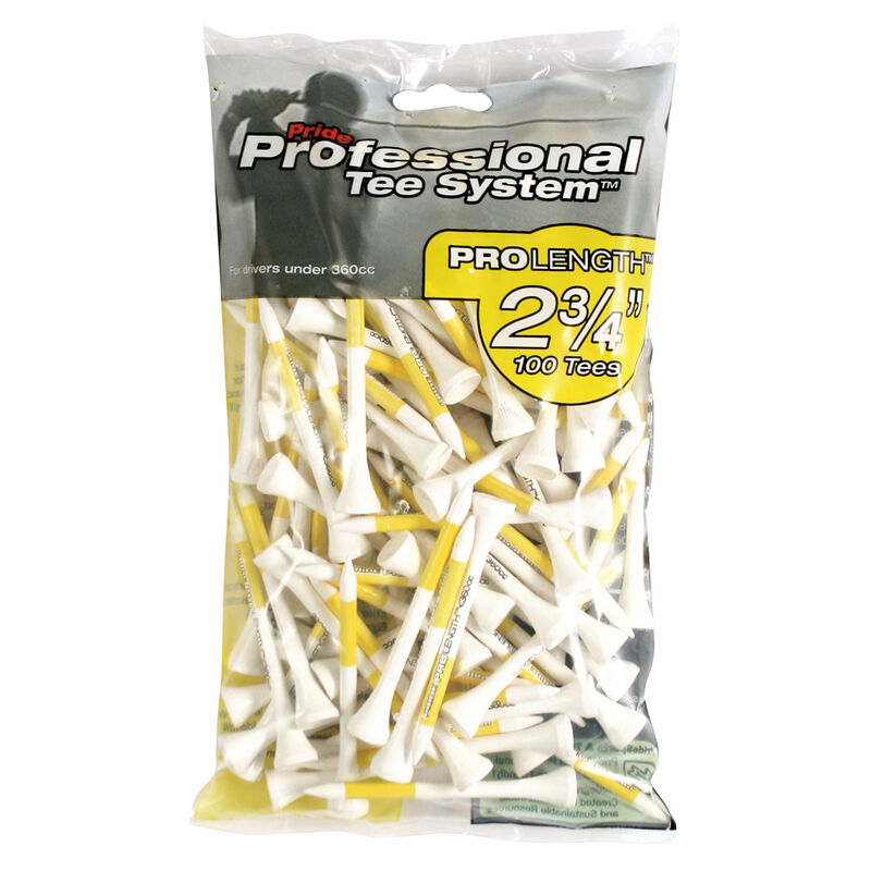 Pride Professional Golf Tees Large pack Male Tees Yellow 2 34 Inches