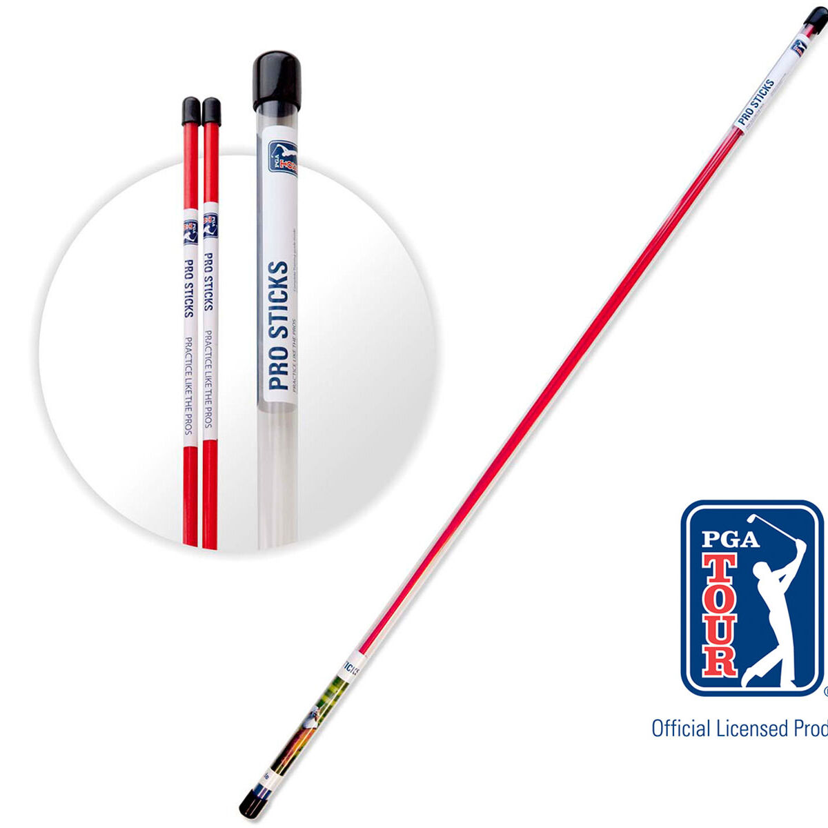 PGA Tour Red Pro Sticks Golf Training Aid, Size: 46 | American Golf