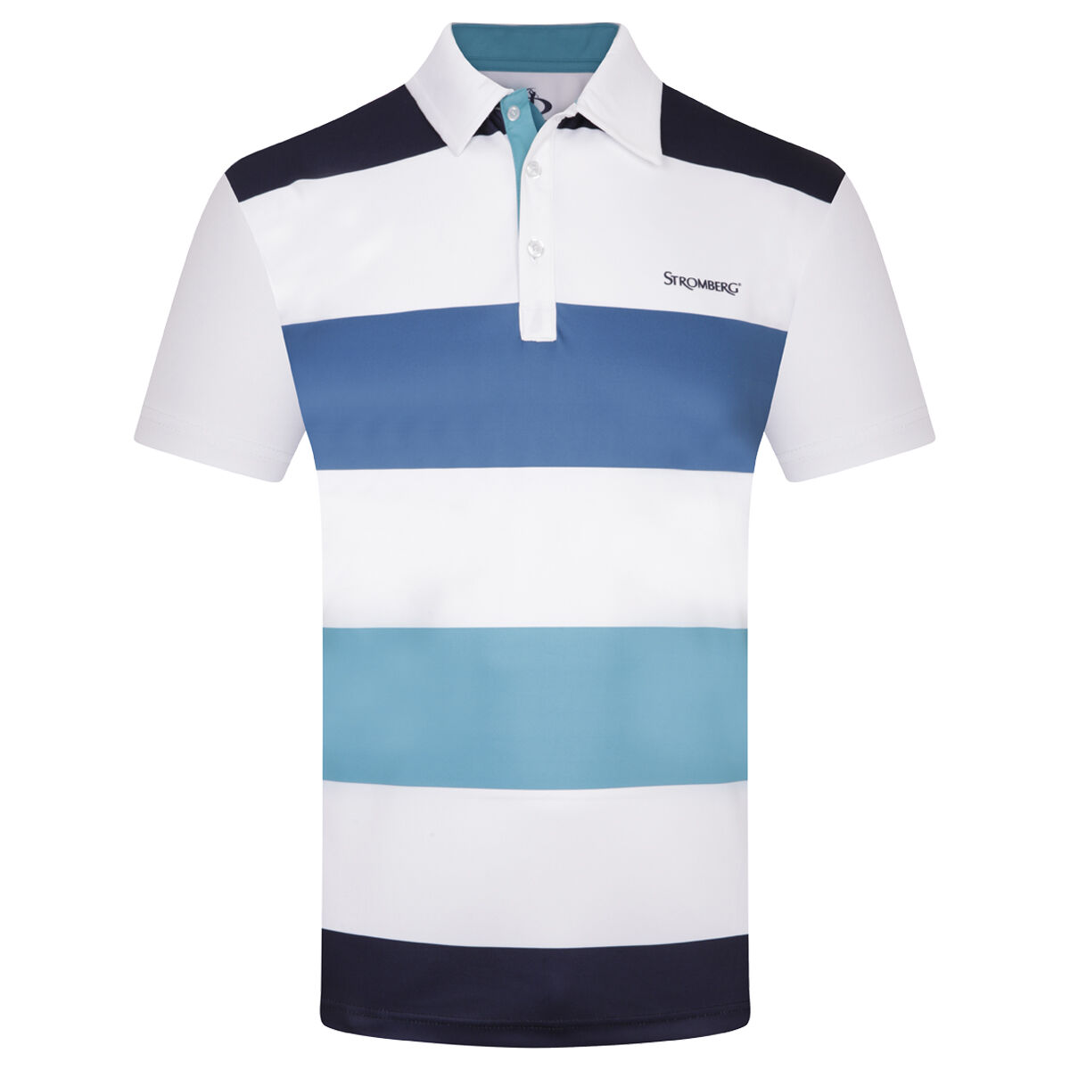 Stromberg Beat Stripe Golf Polo Shirt, Mens, White/navy, Large   American Golf