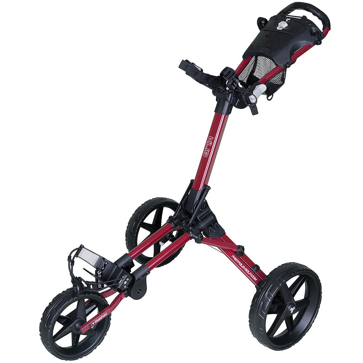 Fast Fold Kliq 3 Wheel Push Golf Trolley, Burgundy/black | American Golf