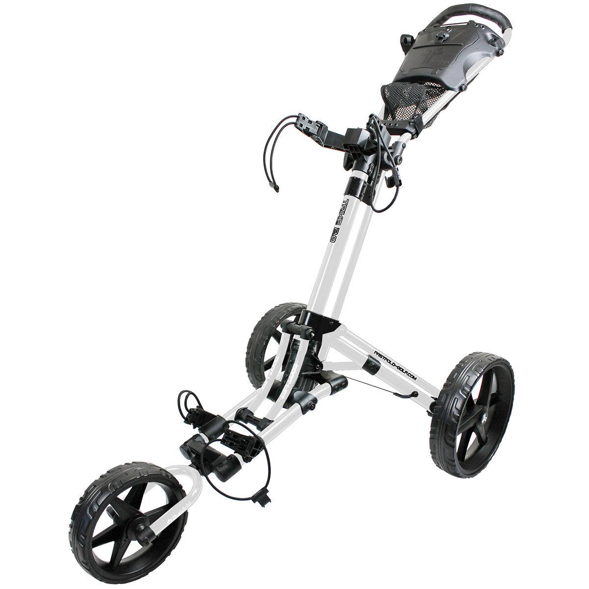 Fast Fold Mens White and Black Lightweight FastFold Trike 2.0 Golf Trolley, Size: 78x42x40cm | American Golf | American Golf