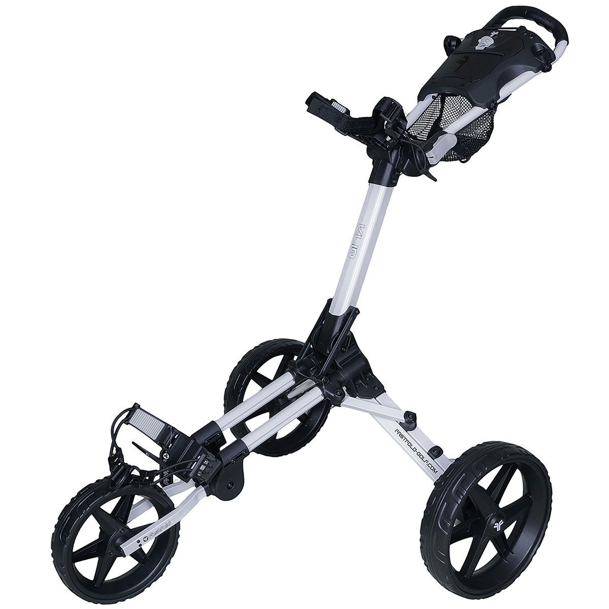 Fast Fold Mens White and Black Lightweight Kliq 3 Wheel Push Golf Trolley, Size: One Size | American Golf | American Golf