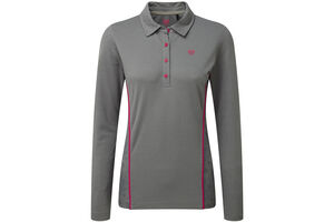 Palm Grove Floral Long Sleeve Ladies Polo Shirt