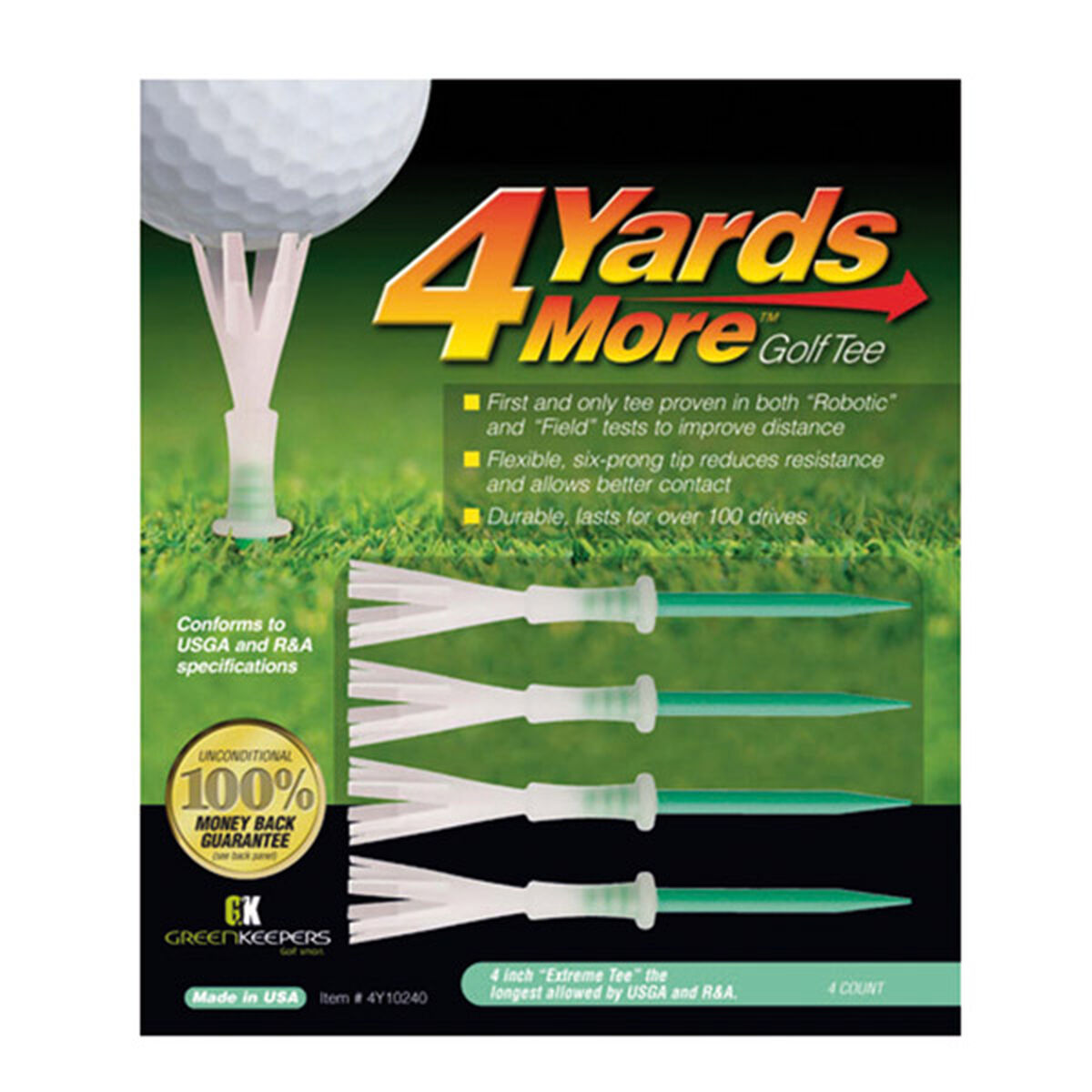 """4 Yards More Green Pack of 4 Extreme Golf Tees, Size: 4"""", 4 inches 