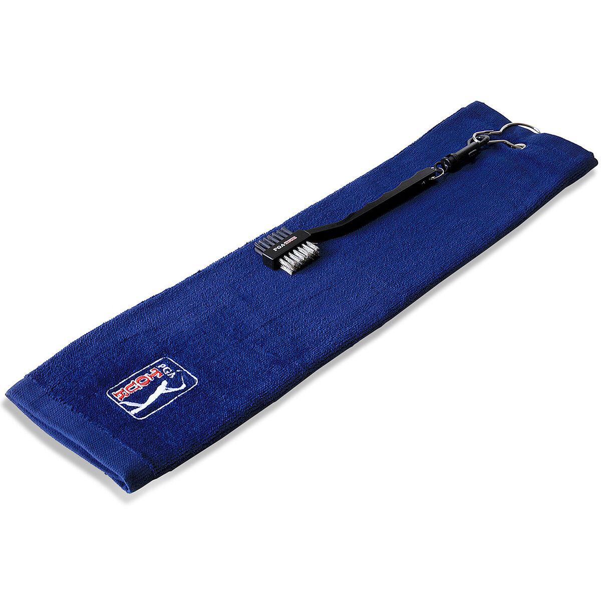 PGA Tour Towel and Brush Set, Male, TOWEL & BRUSH, Blue, Large | American Golf