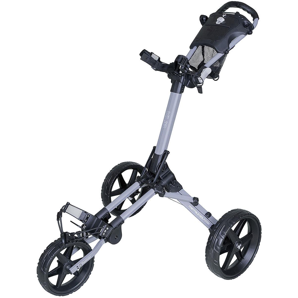 Fast Fold Kliq 3 Wheel Push Golf Trolley, Matte grey black, One Size | American Golf