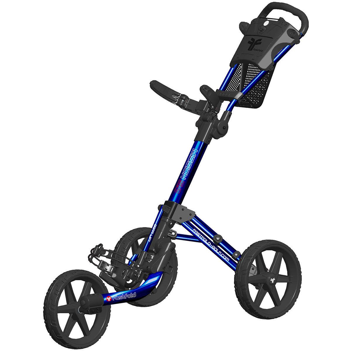 Fast Fold Fastfold Mission 5.0 3 Wheel Push Golf Trolley, Shiny blue black | American Golf