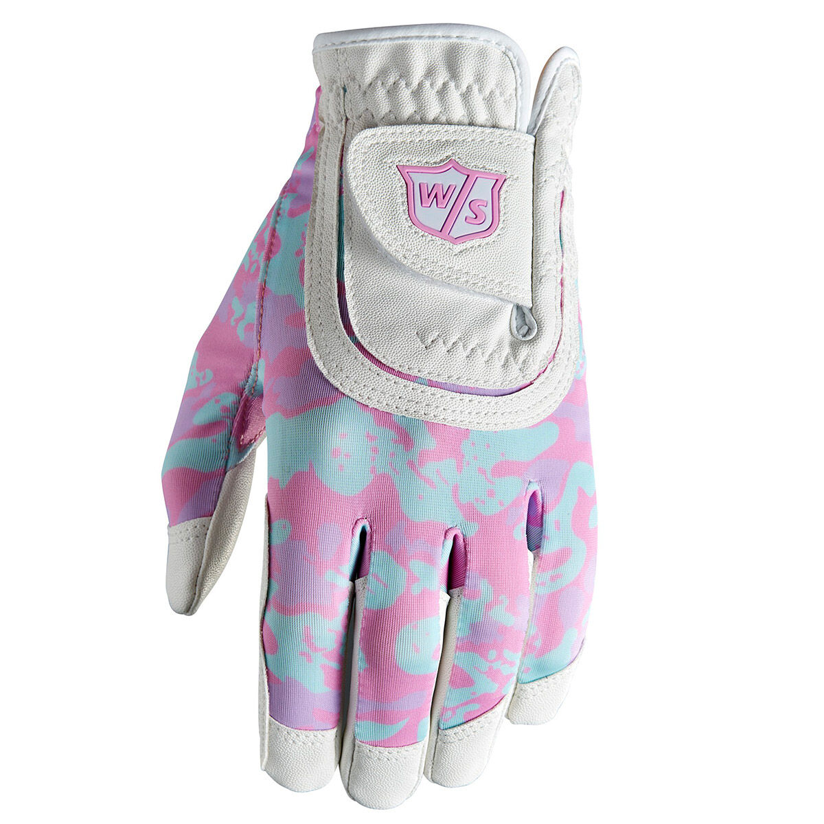 Wilson Staff Kids White And Pink Camouflage Fit All Junior Golf Glove, One Size | American Golf