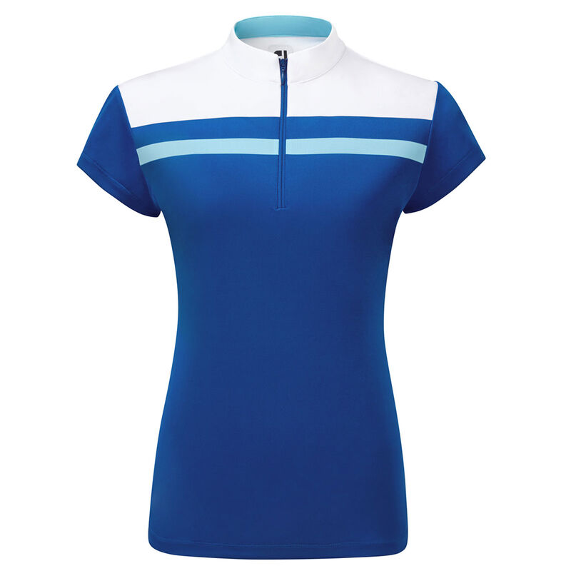FootJoy Micro Interlock Colour Block Ladies Polo Shirt Female RoyalWhiteBluefish Small