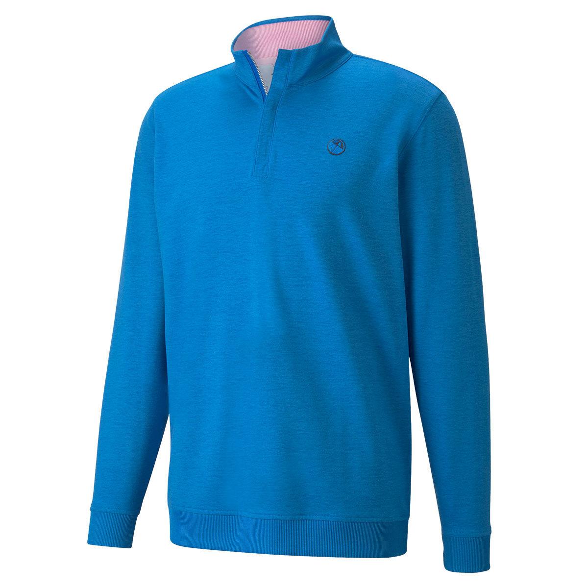 PUMA Golf AP Clubhouse ¼ Zip Midlayer, Mens, Future blue heather, Large | American Golf