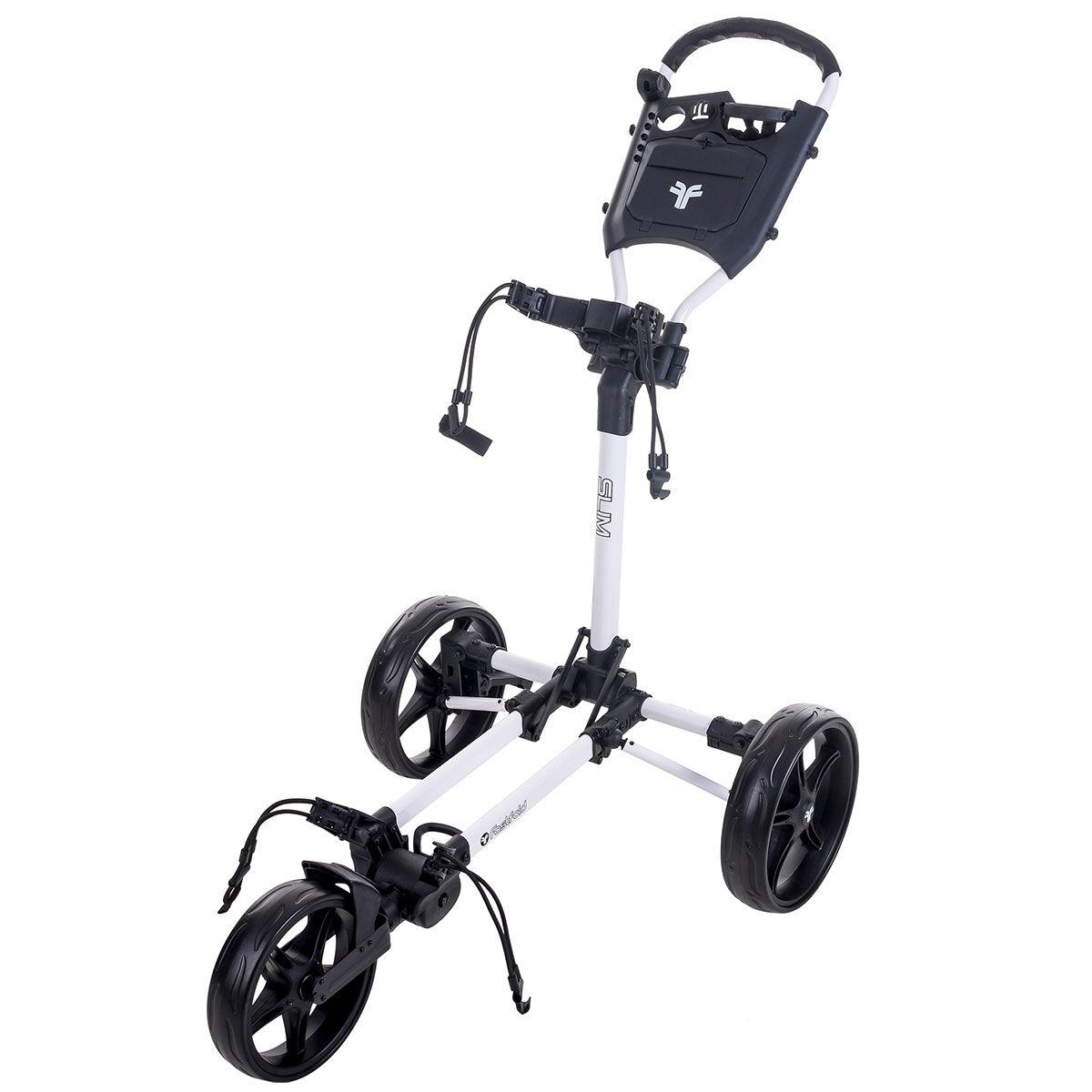 Fast Fold Slim 3-Wheel Push Golf Trolley, White/black | American Golf