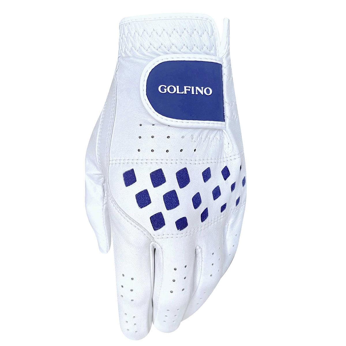 GOLFINO Cabretta Leather Womens Golf Glove, Female, Left hand, Large, White/navy | American Golf