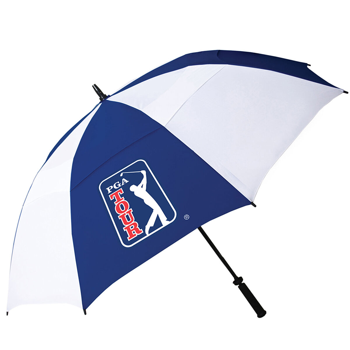 PGA Tour Mens White and Blue Lightweight Double Canopy Umbrella, One Size | American Golf