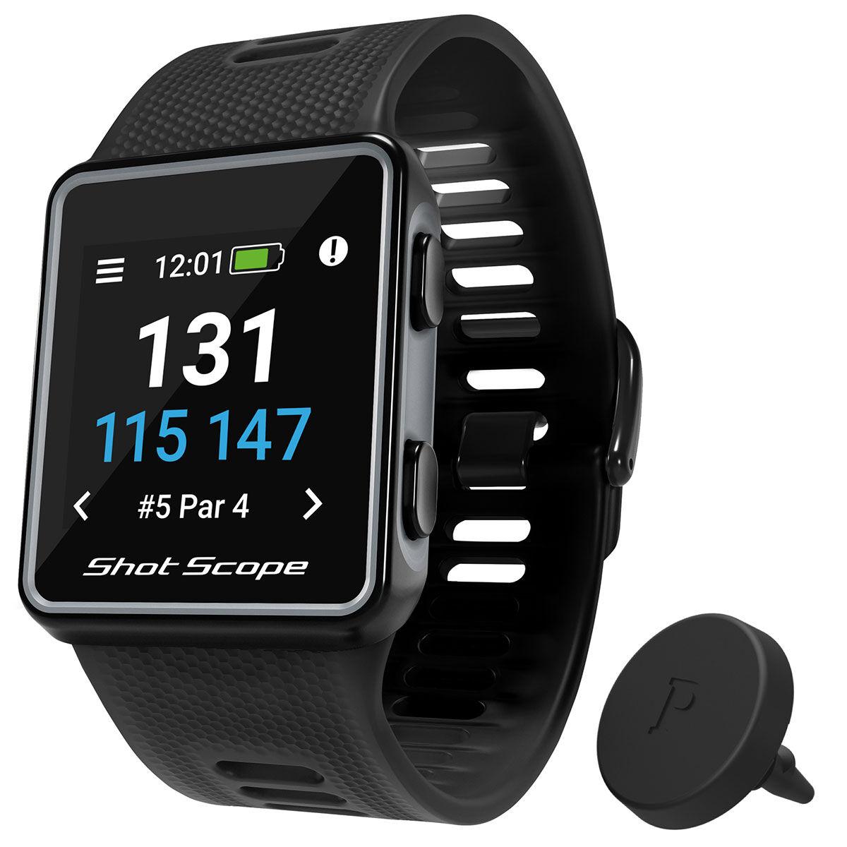 Shot Scope Black V3 Smart Golf GPS Watch, Size: 135-210mm   American Golf   American Golf