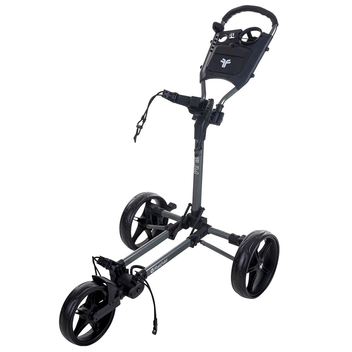 Fast Fold Slim 3-Wheel Push Golf Trolley, Charcoal/black | American Golf