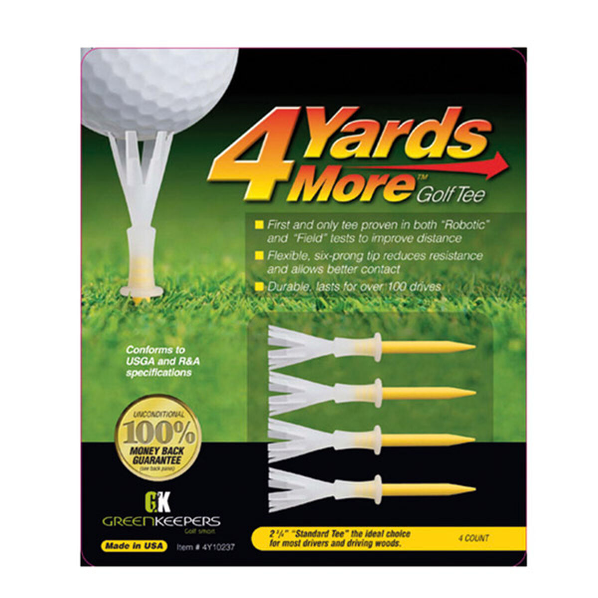 """4 Yards More Yellow Pack of 4 Standard Golf Tees, Size: 2 3/4"""", 2 3/4 inches 
