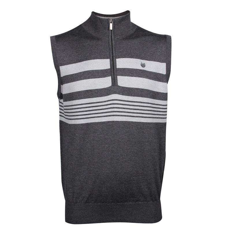 Palm Grove Stripe 12 Zip Vest Male CharcoalSilver Small