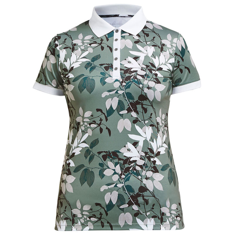 Röhnisch Leaf Ladies Polo Shirt Female Green Leaves XL
