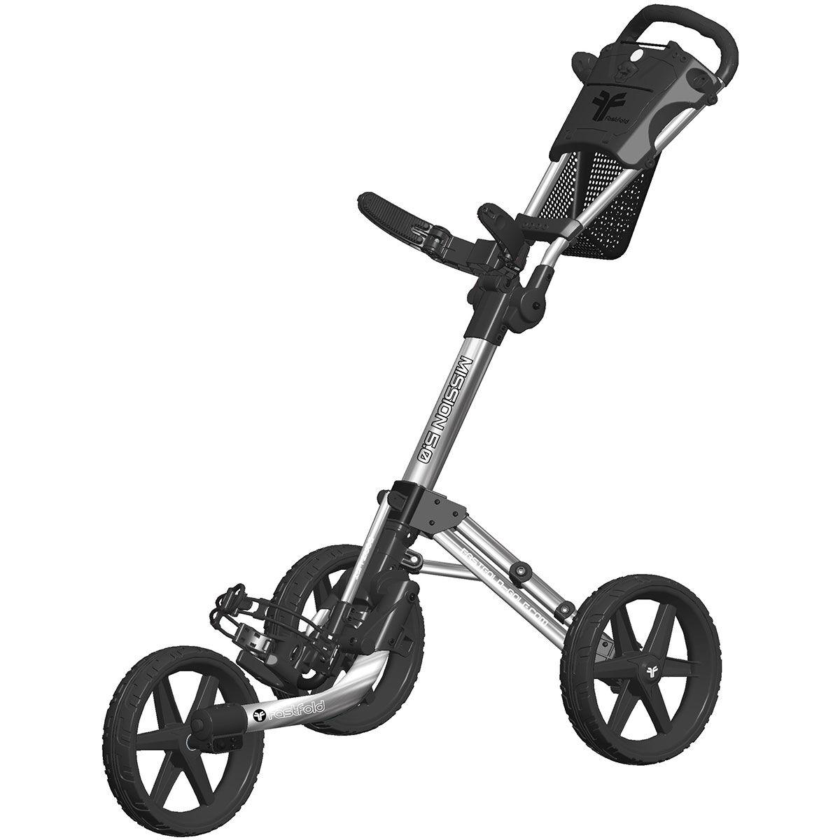 Fast Fold Fastfold Mission 5.0 3 Wheel Push Golf Trolley, Silver/black | American Golf