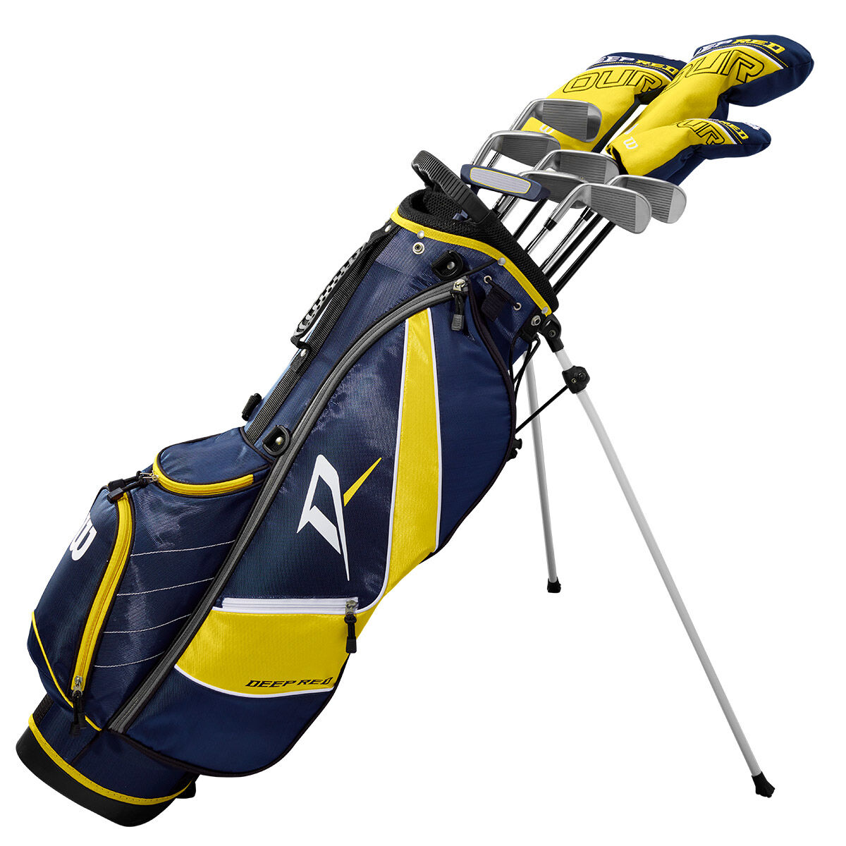 Wilson Deep Red Blue and Yellow Right Hand Golf Stand Bag Tour Teen Package Set, One Size | American Golf