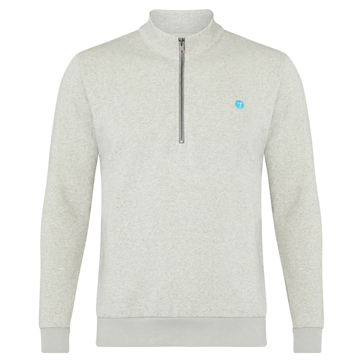 OCEANTEE Wobbegong Zip Golf Sweater, Male, Grey Speckle, Small
