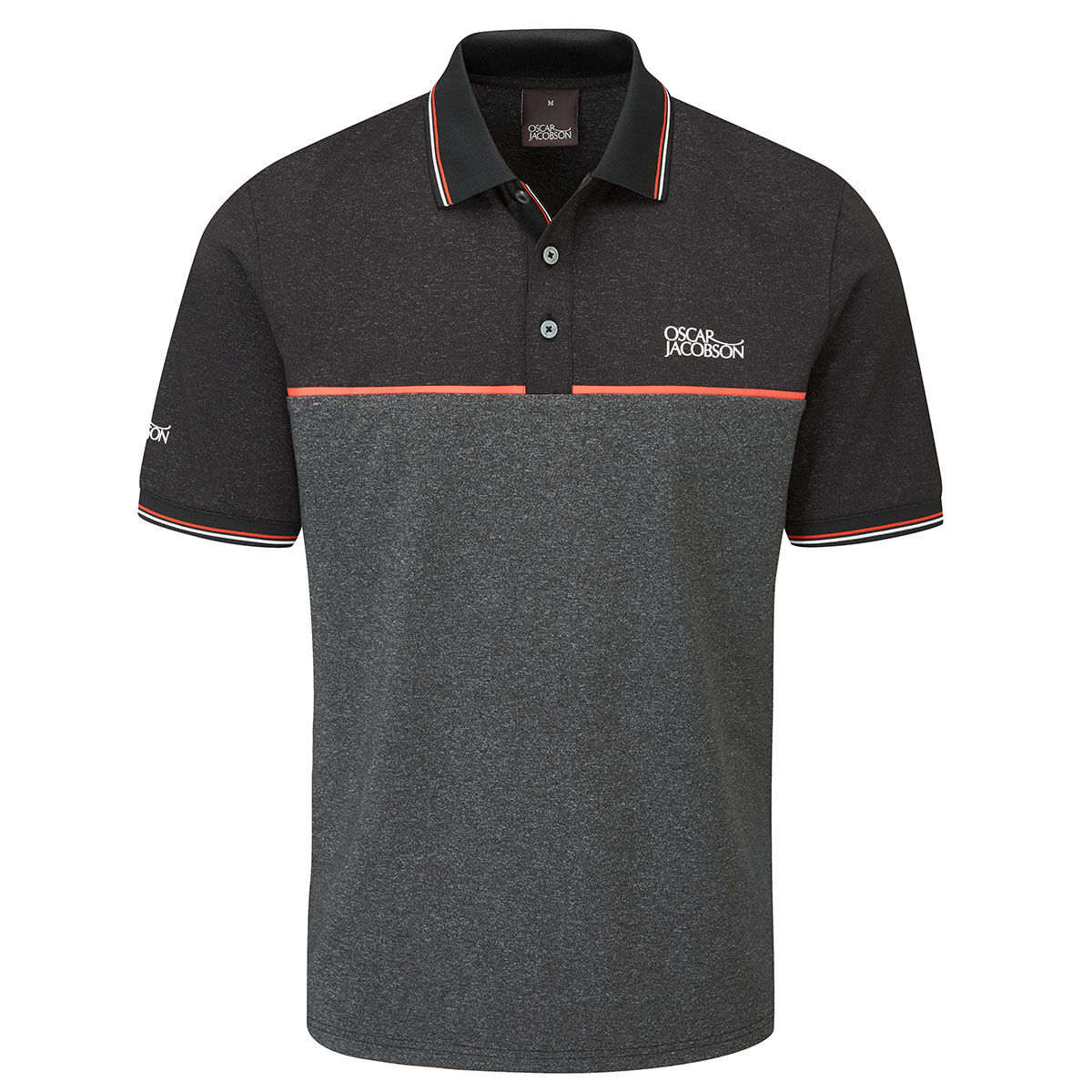 Oscar Jacobson Belford Golf Polo Shirt, Mens, Small, Black marl | American Golf