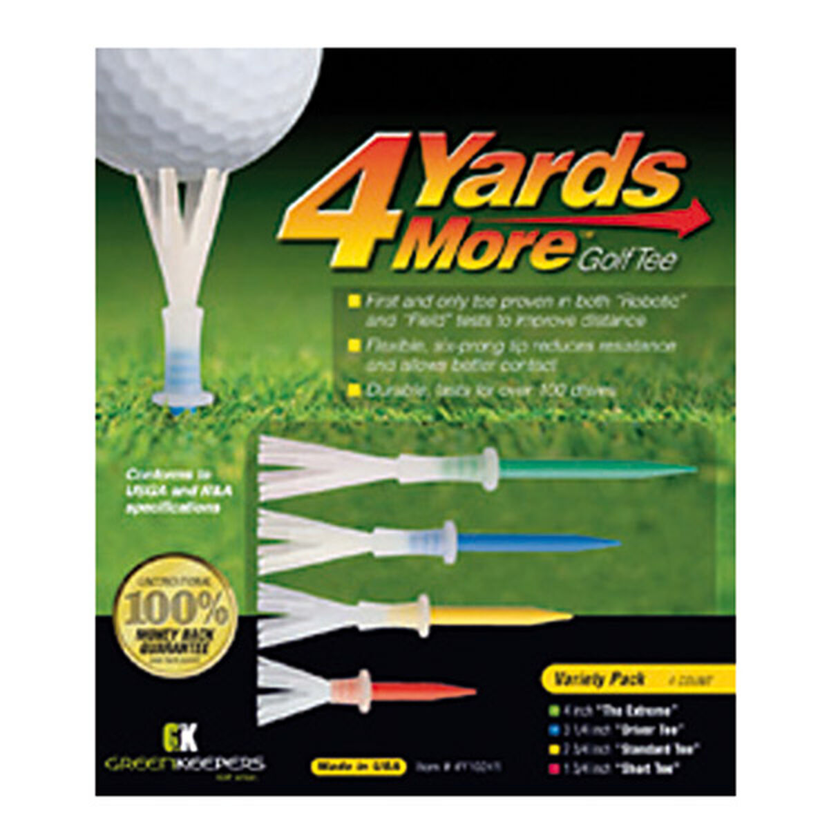 4 Yards More Variety Pack of 4 Golf Tees, one size | American Golf
