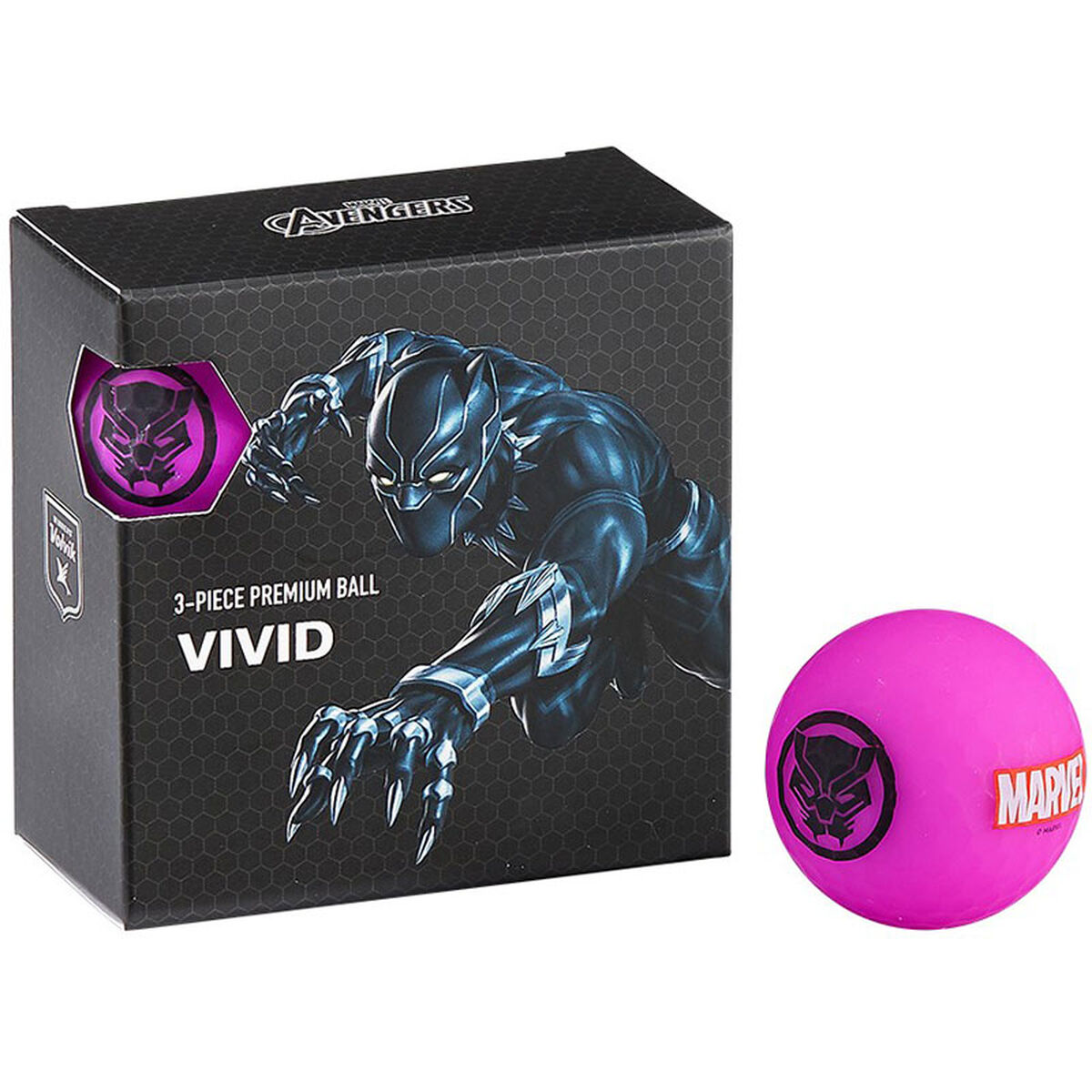 Volvik Black and Purple Panther Print Marvel 4 Pack of Golf Balls, One Size   American Golf