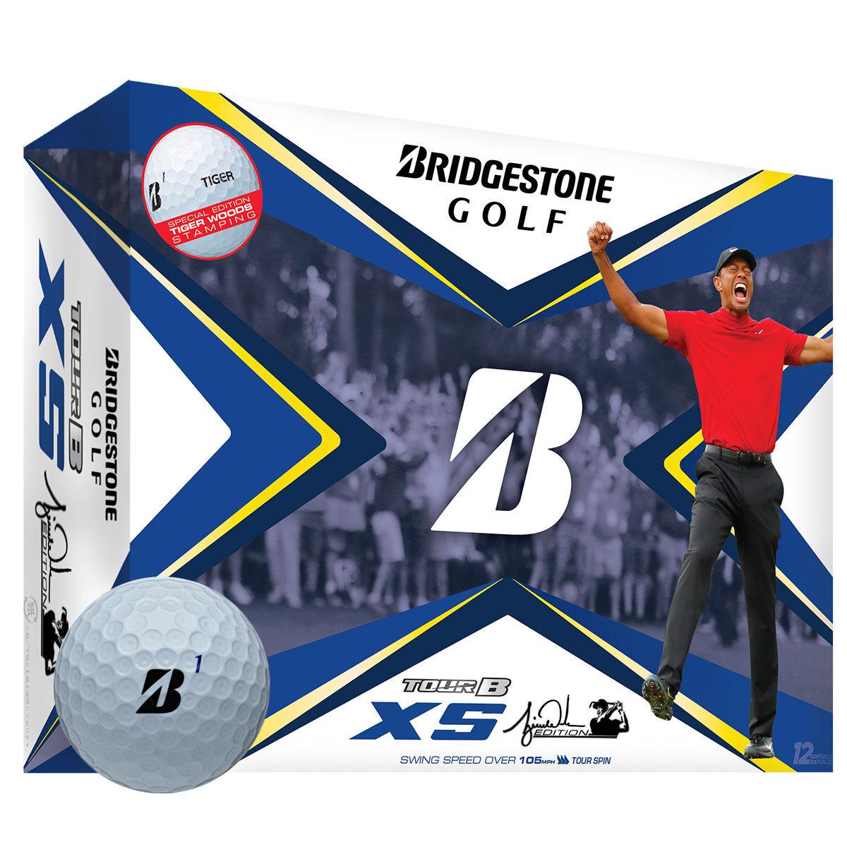 Bridgestone Golf White Tour B XS Tiger Woods Edition Pack of 12 Golf Balls, One Size | American Golf