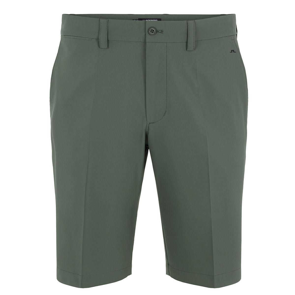 J.Lindeberg Mens Green Lightweight Embroidered Somle Golf Shorts, Size: 32 | American Golf