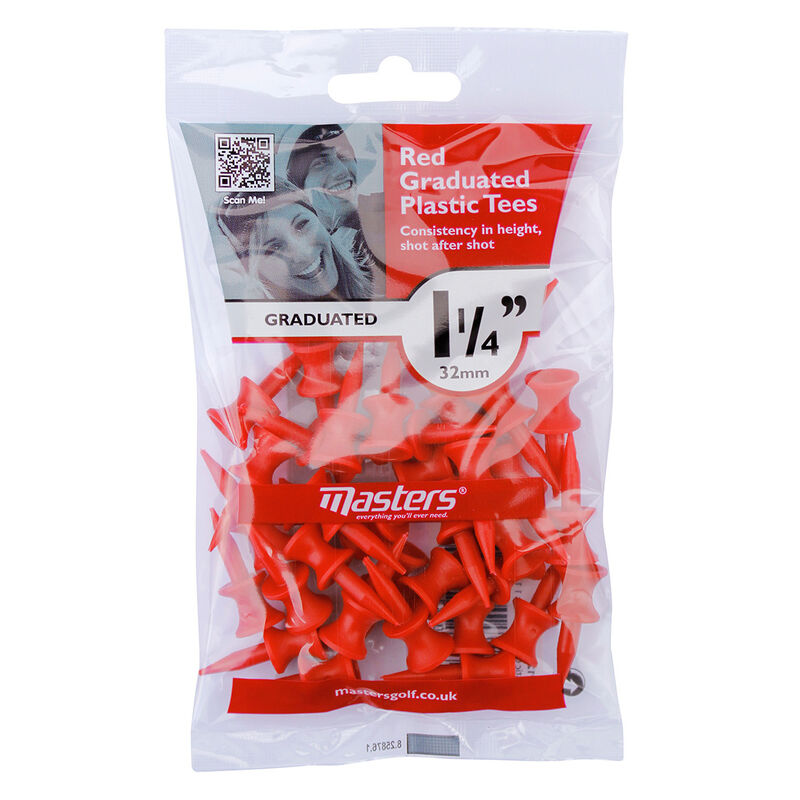 Masters Golf Graduated Plastic Tees Male Tees Red 32mm