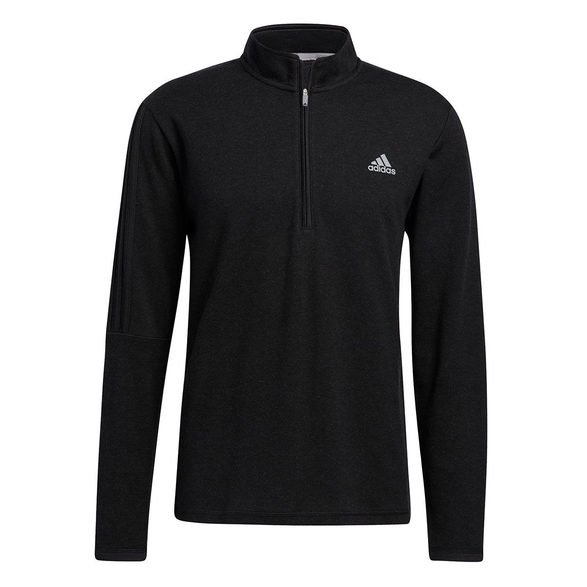 adidas Golf 3-Stripe Left Chest 1/4 Zip Midlayer, Mens, Black, Large | American Golf
