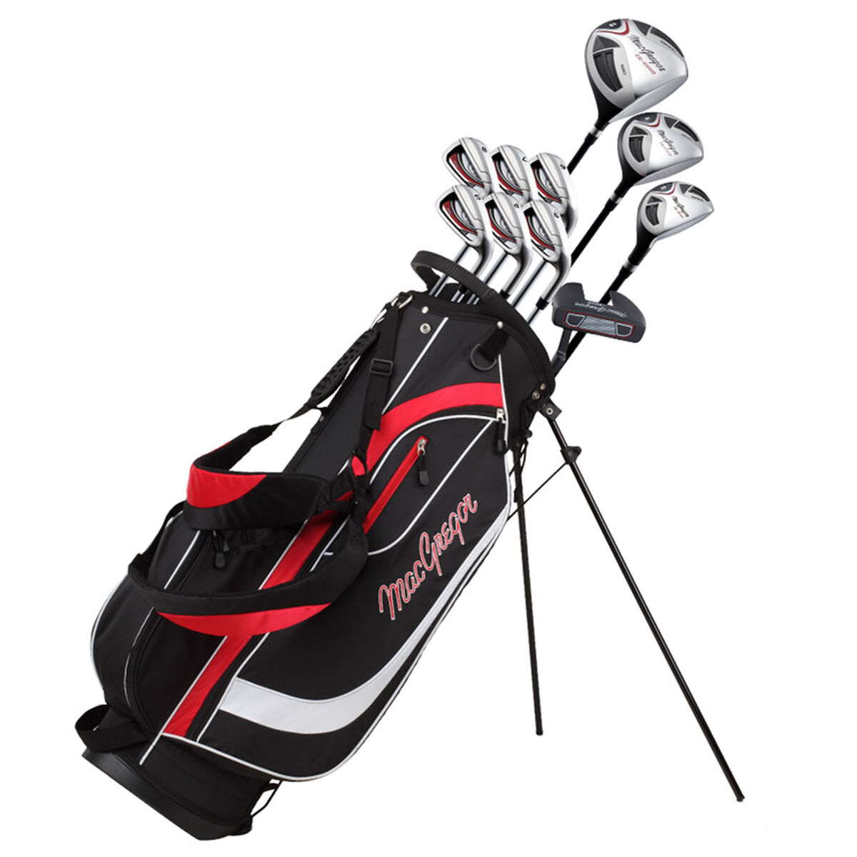 MacGregor Black and Red CG2000 Golf Stand Bag Steel Right Hand Full Package Set, Size: One Size