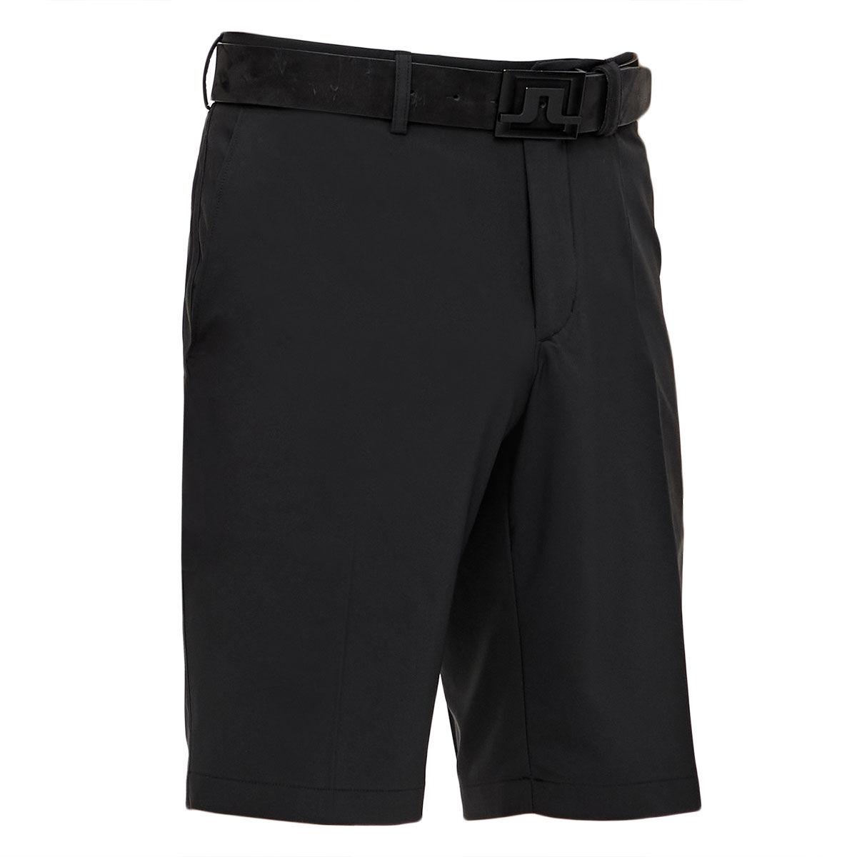 J.Lindeberg Mens Black Lightweight Embroidered Somle Golf Shorts, Size: 30 | American Golf