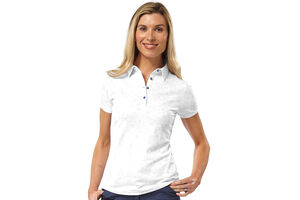 Palm Grove Floral Ladies Polo Shirt