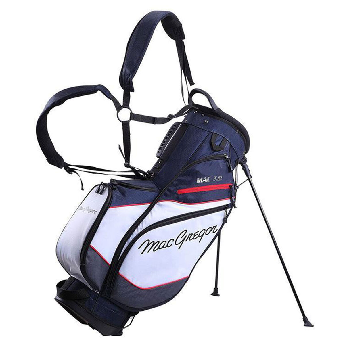 MacGregor MAC 7.0 Golf Stand Bag, Navy/white/red   American Golf