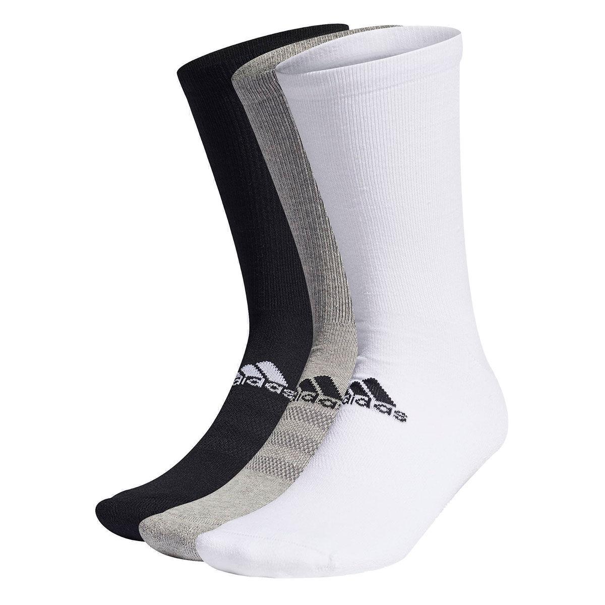 adidas Golf 3 Pack Crew Socks, Mens, White/black/grey, 6.5-8 | American Golf