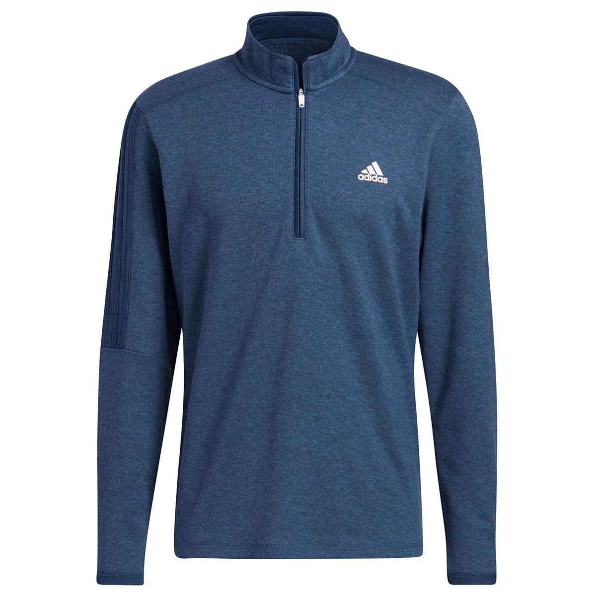 adidas Golf 3-Stripe Left Chest 1/4 Zip Midlayer, Mens, Crew navy, Large | American Golf