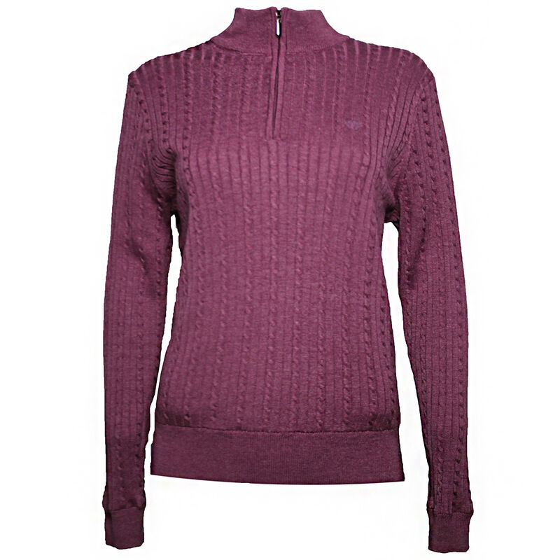 Palm Grove Cable Knit Lined 14 Zip Ladies Sweater Female Purple Heather 8