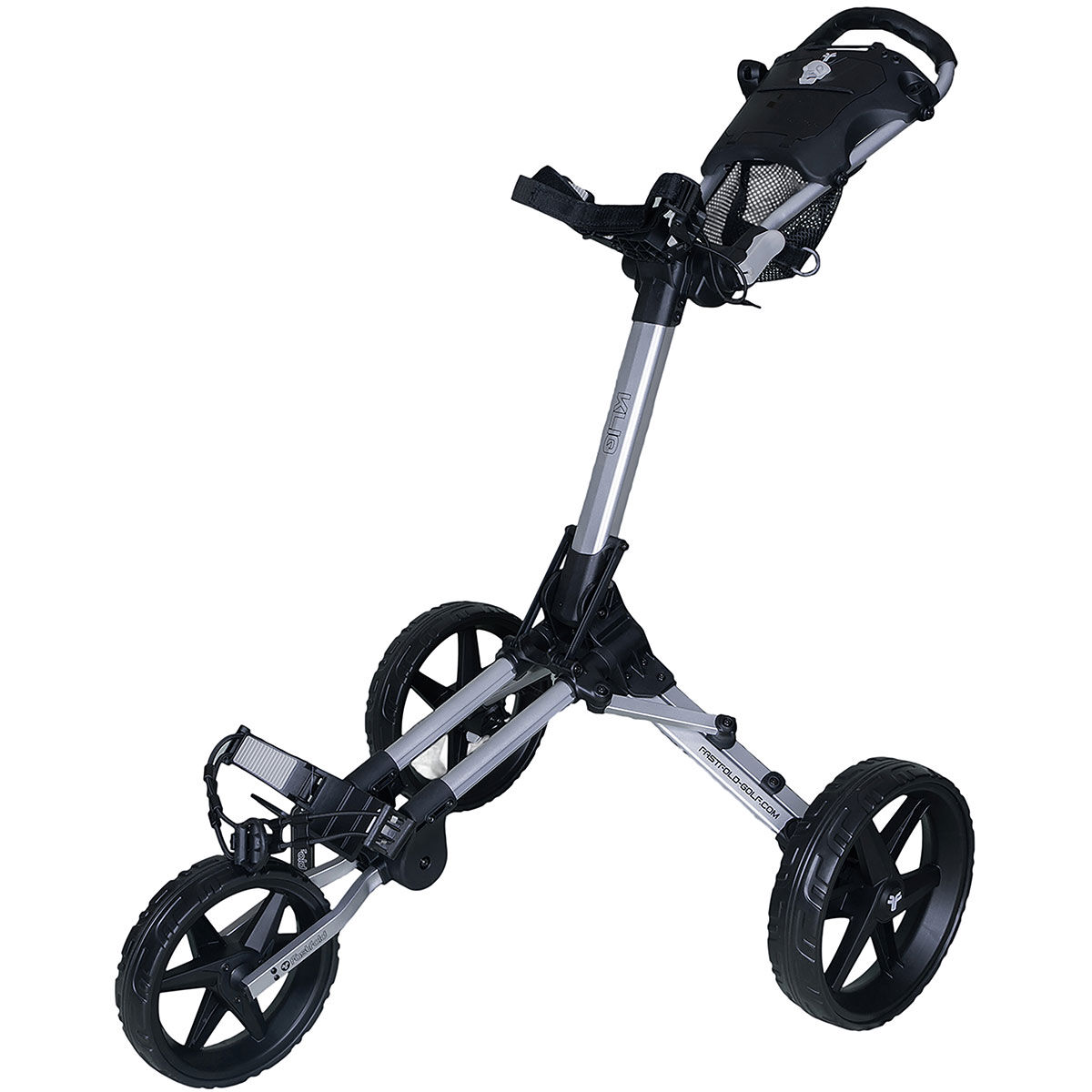 Fast Fold Silver and Black Lightweight Kliq 3 Wheel Push Golf Trolley, Size: One Size | American Golf | American Golf